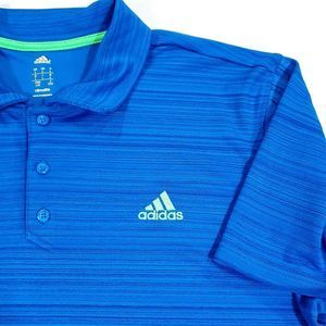 adidas Climalite Men's 3 Stripe Polo Blue Size L